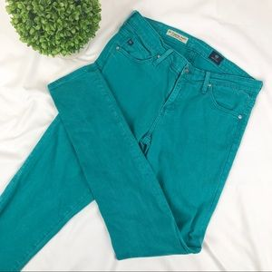AG the Legging Super Skinny Ankle teal jeans